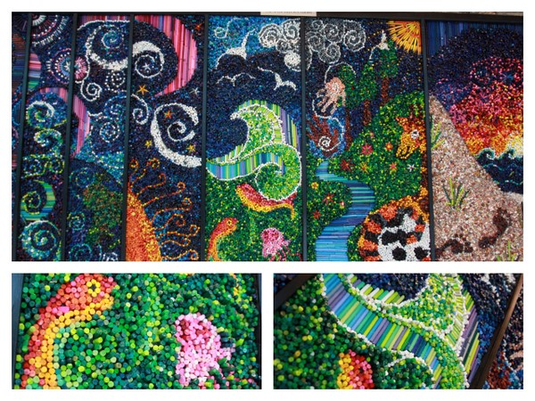 Collage Of Seven Days Of Creation Artist Suzi Furt Ler This Is Made Entirely Of Crayons