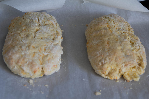 Shape the dough into two logs. It certainly doesn't look yummy right now.